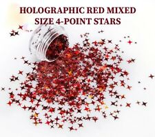 USA Solvent Resistant STARS 4-POINT STARS HOLOGRAPHIC RED Acrylic Gel Nail Art