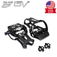 """BV Bike Pedals Shimano SPD Compatible 9/16"""" with Toe Clips Indoor Cycling Pedals"""