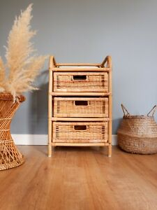 Vintage Retro Bohemian Style Boho Rattan Wicker Bamboo 1970s Chest of Drawers