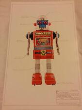 "Print # 17 ROBOT JAPAN CLASSIC TIN TOY SPACE 17 ""x11"" Ray Gun GIOVE 1955 MINT"