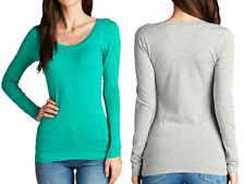 BASIC LONG SLEEVE T-Shirt Round-Neck SOLID Cotton Stretch Tight Thin Plus S~3XL