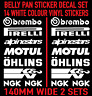 Motorbike Belly Pan Fairing Decals Stickers WHITE Colour SET OF 14 STICKERS