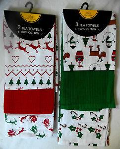 Christmas 3-Pack Tea Towels 100% Cotton Size approx: 63 x 38cm