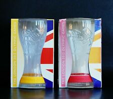COCA COLA MCDONALDS LONDON 2012 OLYMPICS 2 X GLASSES YELLOW PINK WRISTBAND