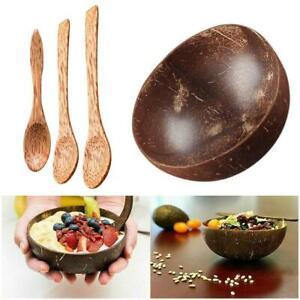 Coconut Shell Bowl Spoon Craft Fruit Salad Noodle Rice Food Hot