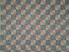 Unfinished Quilt Top -Pink Flowered Four Patch w Blue Flower Blocks,approx 53x80
