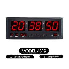 Jumbo Digital LED Wall Desk Big Clock W/ Calendar Temperature Red
