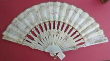 Antique Folding Fans Sequined and Painted Fabric on Painted Wood Frames
