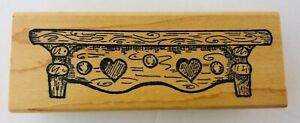 Country Shelf Wood Heart Mantle Wood Mounted Rubber Stamp Knick Knack 4.25""