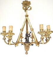 ANTIQUE 9 LIGHTS FIGURAL TRITON & TRUMPET MYTHICAL FRENCH BRONZE CHANDELIER RARE