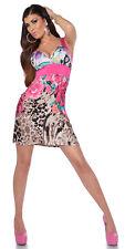 Bright pink animal print leo print roses floral dress 8 10 12 summer holiday