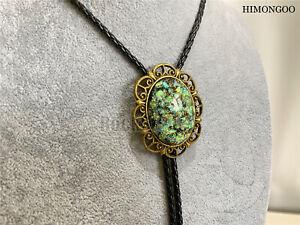 "Flower Opal Hobit Mens Bolo Tie Wedding Necklace Western Cowboy 40"" Leather Rope"