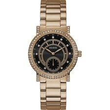 Reloj de Mujer GUESS CONSTELLATION W1006L2 Acero Color Gold Rose Swarovski Negro