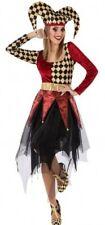 Costume Woman Harlequin M/L 40/42 Clown Circus Medieval New