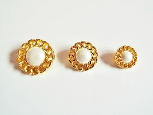 6 FAUX PEARL & GOLD FANCY DRESS / COAT BUTTONS 15 20 or 25mm