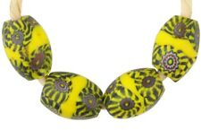 African trade beads oval banded Millefiori Venetian glass beads Murano glass old