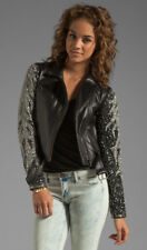 veda aquarius jacket leather embellished silver xs black moto biker motorcycle