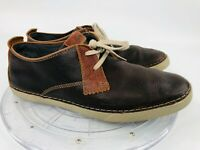 Clarks Collection Men's 8.5 Two-Tone Brown Leather 2-Eye Casual Low Lace Up