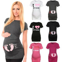 Women's Short Sleeve Nurse Pregnant Maternity Tops Mother Print T-Shirt Blouse
