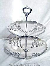 Vintage SHEFFIELD Silver Plate Dessert Two Tier Stand, Made in USA