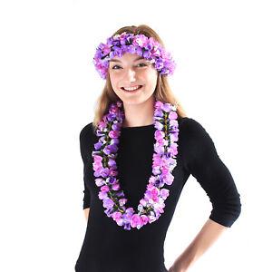 Hawaiian Luau Party Kapiolani Tuberose Fabric Flower Matching Lei and Head band