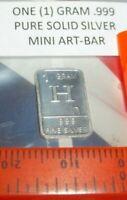 1 Gram .999 Pure Fine Solid Silver ~ Uncirculated Mini Art-Bar:  Letter ~H ~