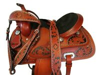BROWN LEATHER WESTERN SADDLE 16 15 17 PLEASURE HORSE SHOW TOOLED TACK PACKAGE