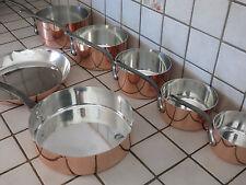 SET 7PC FRENCH COPPER COOKWARE PANS POTS VINTAGE