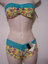 BIATTA Yellow Print Stretch Bandeau Size P/S and Hotshort Size 5 Set MSRP $22