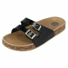 Spot On Ladies Synthetic/Patent Black Mule Sandal F0R809 (R8A)