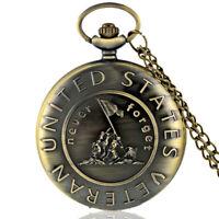 NE_ Retro US Veteran Army Bronze Pocket Watch Quartz Necklace Pendant w/Chain Gi