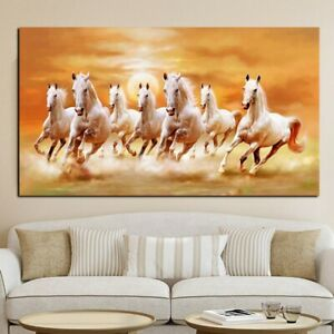 1 Pcs Abstract White Horse Racing Canvas Painting Mural  Living Room Decor Gifts