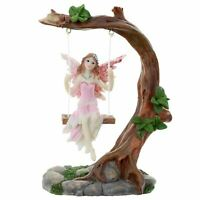 Flower Fairy On A Swing Colourful Decorative Glitter Ornament Gift Boxed 14cm