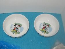 Set of 2 Disney Mickey &  Minnie Mouse Bowls by Gibson Blue Green Diamonds