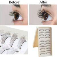 Natural Women Lady Long Eye Lashes Beauty Makeup Handmade False Eyelashes 10Pair