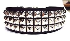 "spiked Studded Leather Dog Collar 2"""" Wide Silver/Chrome Large Pyramid/Square"