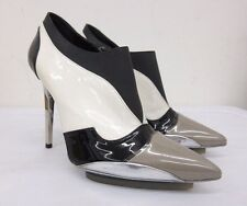 Balenciaga Paris Patent Leather Zip Up Pump in Black White  36.5 EU - 6.5 US
