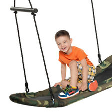 Saucer Tree Swing Surf Kids Outdoor Adjustable Oval Platform Swing Set w/ Handle