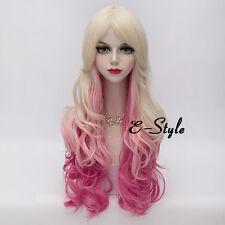 Lolita Harajuku 70CM Long Curly Blonde Mixed Pink Hair  Women Cosplay Party Wig