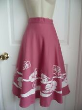 HAWAIIAN Skirt Wrap Style HANS JUTTE S/M Pink w/ White Rose Hibiscus Vnt 1980th
