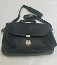 BALLY Black Leather 3 Section Briefcase with Lock and key shoulder strap Vintage