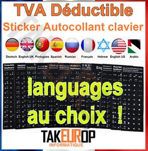 Noir/Blanc Clavier standard autocollant pour russe/arabe/Anglais/Français/hebreu