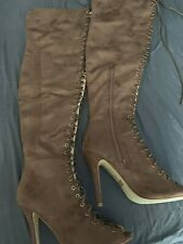 Open Toe Lace Up Tan Vegan Thigh High Boot Size 9