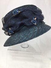 Navy Blue Straw Hat With Flowers Queen Elizabeth Style! Made In Italy
