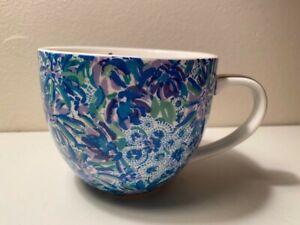 Lilly Pulitzer Blue Floral 12oz Coffee Tea Cup Mug