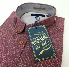 Ted Baker Tight Lines Mens Shirt Red Floral Flowsa Oxford Sz 15