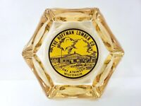 The Hoffman Lumber Company Ashtray  Fort Atkinson Wisconsin Vintage Amber Glass