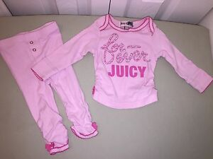 USED JUICY COUTURE 2 PIECE OUTFIT GIRLS 3 6 MONTHS PINK FLORAL LOGO PRINT CUTE!