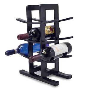 Wine Stand Bamboo Rack Holder 4 Tier Shelves Storage Freestanding Stack Rack