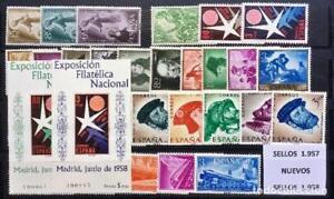SELLOS DE ESPAÑA AÑO 1957** y 1958** COMPLETOS, NUEVOS CON HOJAS DE BRUSELAS